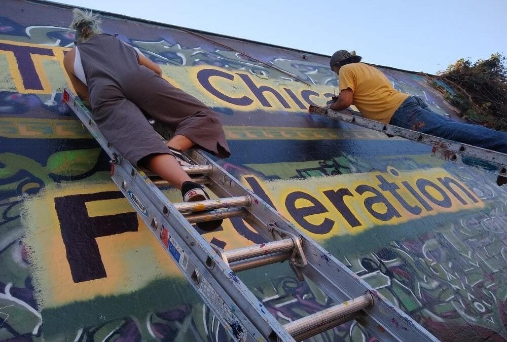 """""""This is About Humanity"""", New Chicano Federation Mural painted with help of community leaders and volunteers."""