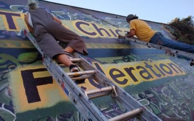 """This is About Humanity"", New Chicano Federation Mural painted with help of community leaders and volunteers."